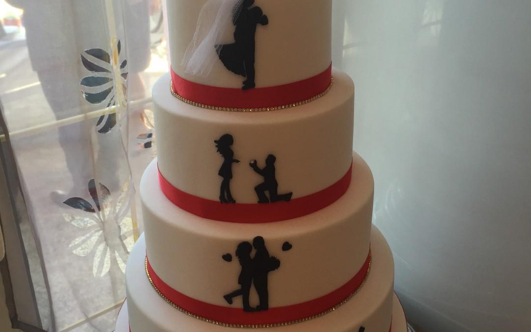 Wedding Cake Blanc Et Rouge LAtelier Des Sucreries