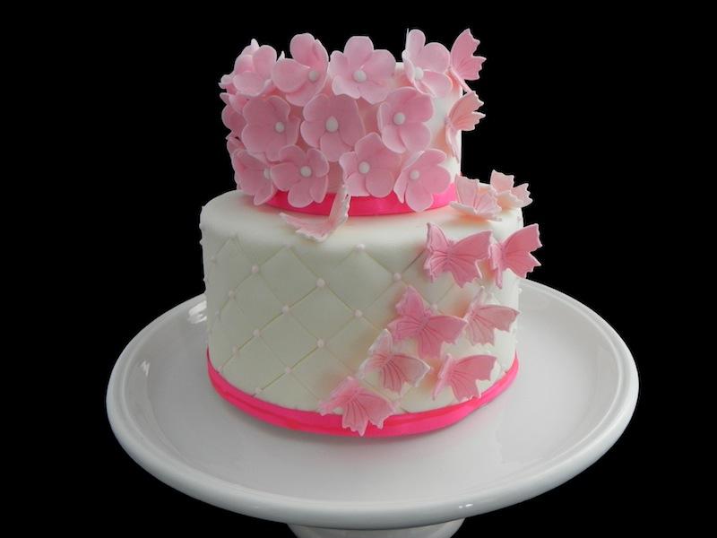 Gâteau Papillon et ses Fleurs