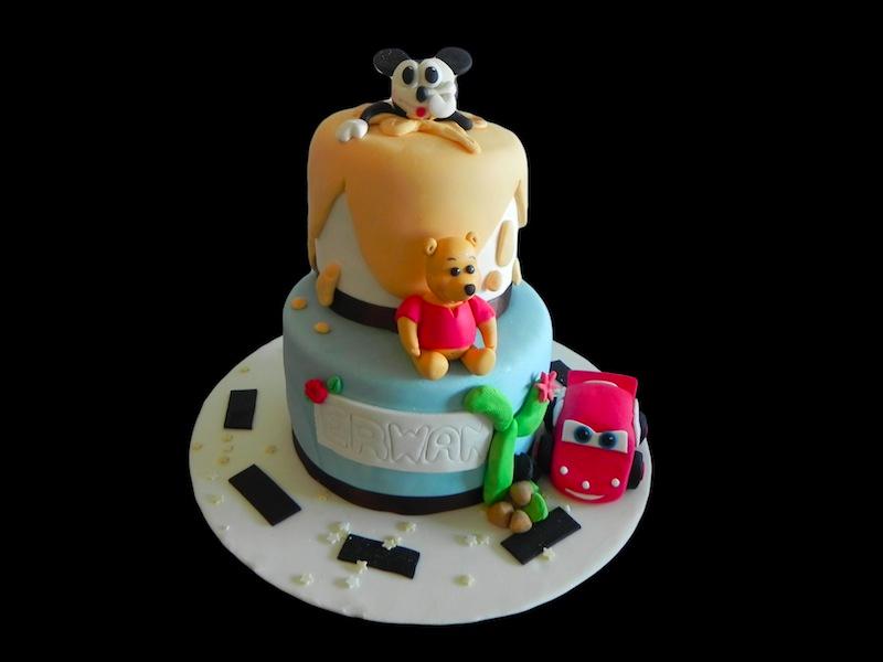Gâteau Winnie, Mickey et Flash Mcqueen